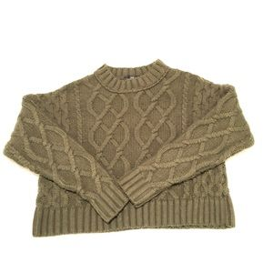 Topshop Cable Knit Crop Sweater 0